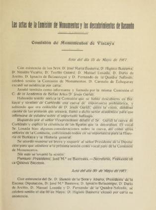 Acta de la reunión de la Comisión de Monumentos de Vizcaya 15/05/1917